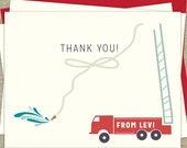 Firetruck folded Thank You cards, set of 12 with matching envelopes, blank inside