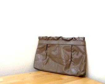 Vintage Taupe Clutch / Ruffle Clutch / Extra Large Clutch / Brown Handbag / Large Wallet