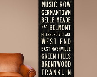 NASHVILLE Bus Scroll, Music City Poster, Wall Hanging, Subway Sign on Canvas. 20.5 x 60