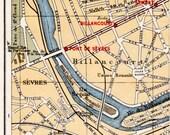 vintage Paris street map, Billancourt with Seine River, vintage Paris map