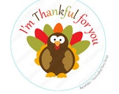 Thanksgiving Stickers, I am Thankful for you, Turkey Stickers, Printed Stickers, tags, Labels or Envelope Seals A787