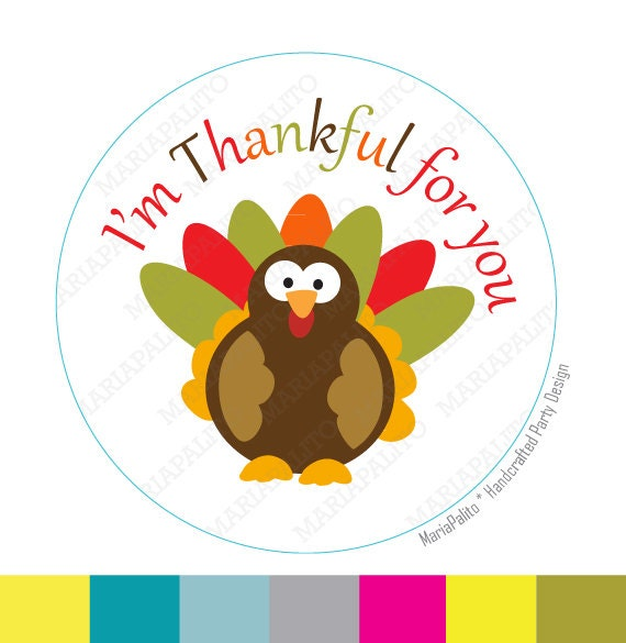 Thanksgiving Stickers, I am Thankful for you, Turkey Stickers,  Personalized Stickers, Printed Stickers, tags, Labels or Envelope Seals A787