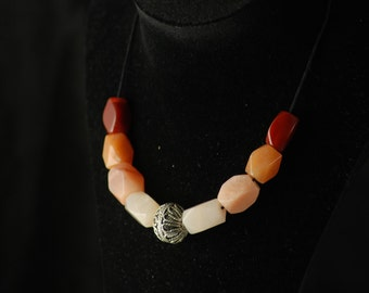 Viking reproduction beads - necklace LUDMILA - semiprecious gems in warm tones - free shipping