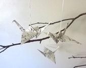 HOLIDAY SALE - Holiday Decor Origami Crane Ornament Christmas Decoration - Set of 3 - Peace Sheet Music The Nutcracker Tchaikovsky
