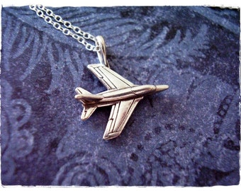 Fighter jet pendant etsy silver fighter jet necklace sterling silver fighter jet charm on a delicate sterling silver cable aloadofball Image collections