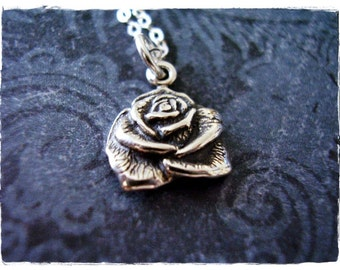 Silver Rose Necklace - Sterling Silver Rose Charm on a Delicate Sterling Silver Cable Chain or Charm Only