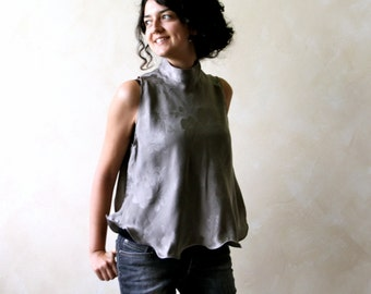 Open back top, sleeveless blouse, Turtleneck top, draped top, cowl top, tank top, satin blouse, reversible top, women top, silk blouse