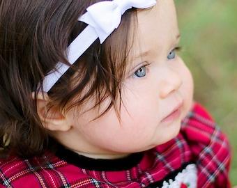White Bow Headband. Small White Hair Bow Headband. Christmas Bow Headband. Baby Hair Accessories. Baby Girls Hair Accessories. Hair Bow