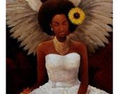 24in x 36in Black Angel Print. Good News Bearer 1