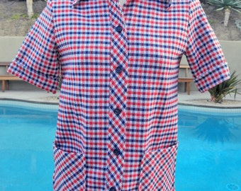 Red White Blue Plaid Button Up Top Sz 10 Gently Used Vintage