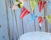 Cake Bunting Romantic Peony and Rose, baby blue, lime and pink stripes Cake topper