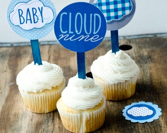Cloud Nine Boy Baby Shower PRINTABLE Party Circles (INSTANT DOWNLOAD) by Love The Day