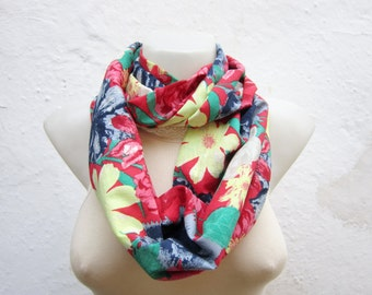 Flower Pattern Scarf, infinity Scarf, Loop Accessories, Fabric Necklace, Circle Foulard, Floral Neckwarmer, Tube, Red Blue Green