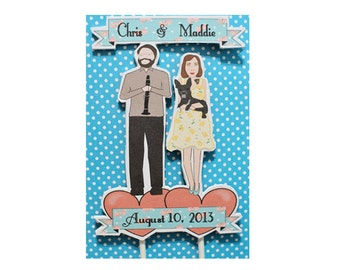 Wedding Cake Topper Custom Bride and Groom Illustration