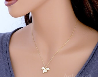 Wild Orchid Necklace, dainty flower necklace, gold filled chain, charm pendant, bridesmaid wedding gift, everyday jewelry, by balance9