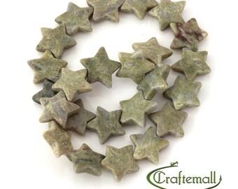 Connemara Marble - 20mm large star - 6 beads