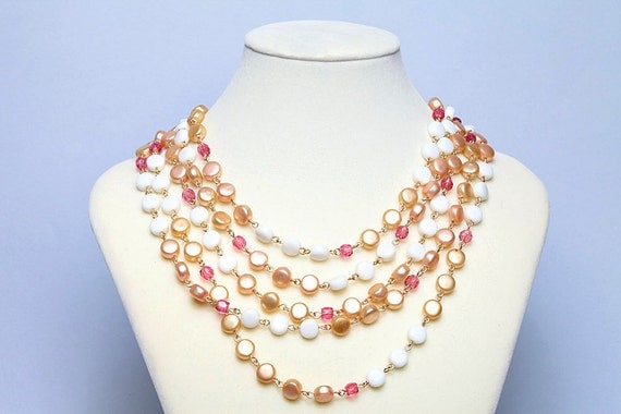 Pastel Goth Necklace Peachy Princess Necklace Vintage Marked Japan Cute Kawaii Multi Layer Pink White Pearl Like
