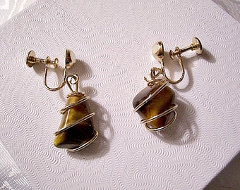 Caged Tigers Eye Stone Screwback Earrings Gold Tone Vintage Wire Wrapped Comfort Adjustable