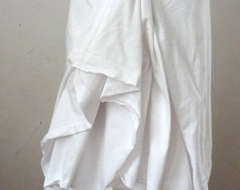 White layered skirt/ raw edge/skirt is doubled to give a layered look