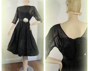 50s  lbd cocktail dress / barbie dress / pouf skirt