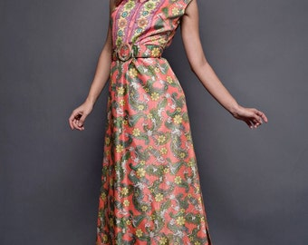 """Vintage 70s Libery Circle Maxi Dress Orange Floral Scroll Belted Sleeveless M (37"""" Bust)"""