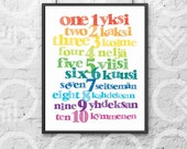 "Instant Download - Printable - 8""x10"" Art Print - Finnish and English Numbers - Nursery Decor - Bilingual Baby - Colorful - Educational"