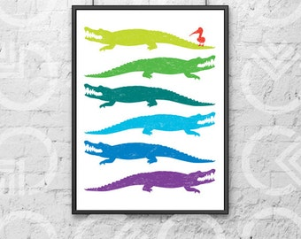 """Instant Download - Printable - 8""""x10"""" Art Print - Alligators and a Pelican - Nursery or Kids Room Decor - Louisiana - South"""