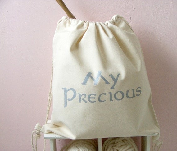 Knitting bag -  natural canvas drawstring  knitting or crochet bag - craft tote