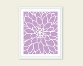 Dahlia Flower No.2 - Art Print  Modern Flower Wall Art - Original - Spring Summer Decor - Purple Lavender - Under 20