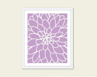 Dahlia Flower No.2 - Art Print  Modern Flower Wall Art - Original - Spring Summer Decor - Purple Lavender - Under 20