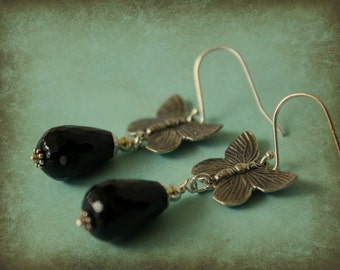 Sterling Butterfly and Onyx Earrings - artisan style, teardrop faceted onyx