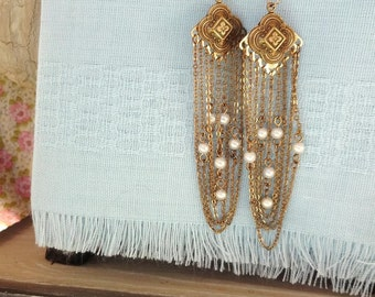 Vintage Pearl and Chain Earrings