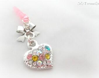 Rhinestone heart iPhone dust plug charm, earphone jack charm, Princess phone charm