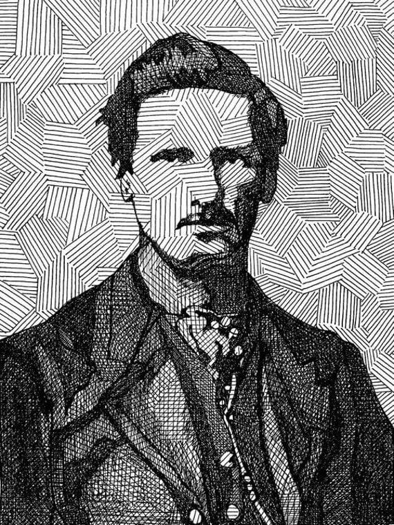 Wyatt Earp as a Lefty - Limited Edition Original Signed Print Drawing no. 4/80 - Wyatt Earp OK Corral Wild West