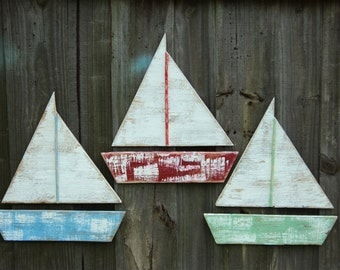 Set Of 3 Weathered Sailboats, Rustic Beach House Style