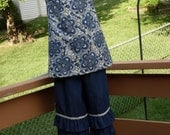Navy Flutter Sleeve Top and Denim Ruffled Pants, Size 3-4, 5-6, 7-8, and 9-10.