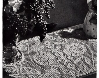 Midsummer Day Butterfly and Roses Filet Crochet Doily Pattern, c.1942