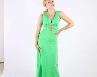 Dress  Cage Back Maxi Gown 1970s Vintage 70s  Green Beaded S XS Extra Small