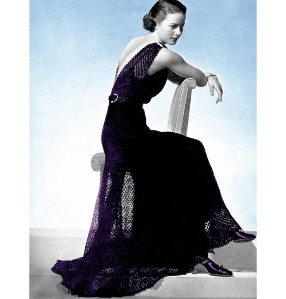 Knitting Pattern Evening Jacket : Vintage Knitting Pattern 1930s Lace Evening Gown by 2ndlookvintage