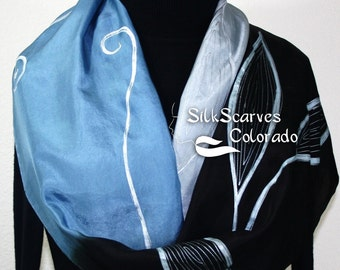 Hand Painted Silk Scarf Gray, Steel Blue, Black, MOON LEAVES. Size 11x60. Bridesmaid Scarf. Birthday Gift, Anniversary Gift. Gift for Her