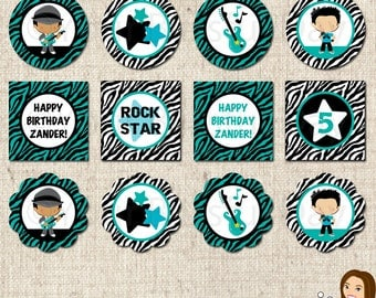 PRINTABLE Personalized Boy Rock Star Party Circles #579