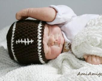 Crochet Football Hat (Newborn)