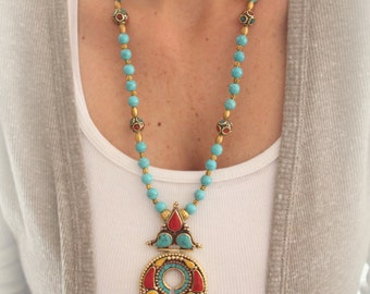 Tibetan brass Pendant Inlayd  with Turquoise & Coral long layering necklace Ethnic Jewelry Free people style Boho statement piece by Inali