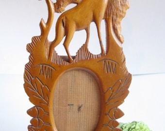 antique easel back frame hand carved wood Swedish stag deer motif