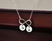 Sterling Silver Personalized Monogrammed Infinity Necklace - Couple's Necklace, Mother Children, Love Symbol, Bridesmaids Gifts, Anniversary