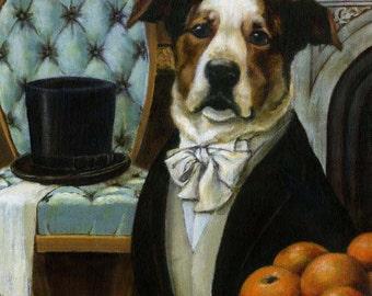 Dog Portrait Print  - Dog Art  - Animal Portrait - Victorian Dog -  Dog Dandy Portrait - Dog Lover's Gift - Pet owner Gift - Dog Art