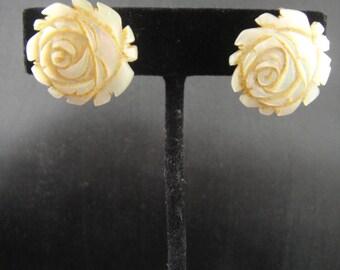 Rose Iridescent Earrings Sterling Screw