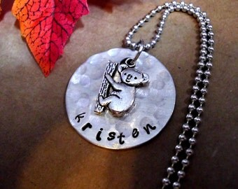 Koala Bear Necklace, Koala Bear Jewelry, Animal Jewelry, Hand Stamped Jewelry