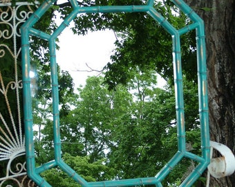 Faux Bamboo Wall Mirror, Vintage, Octagon Wall Mirror, Mid century, Hollywood Regency, Shown in Distressed Aqua,Choose Color 32 1/2 x 25