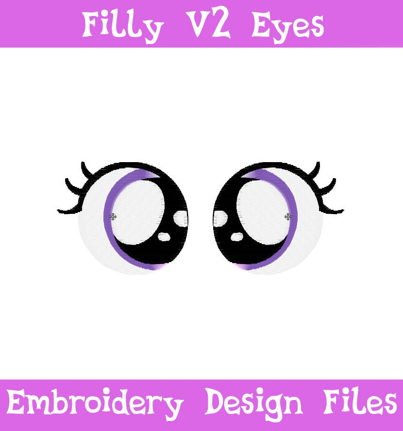 Pes files filly eyes v embroidery machine design